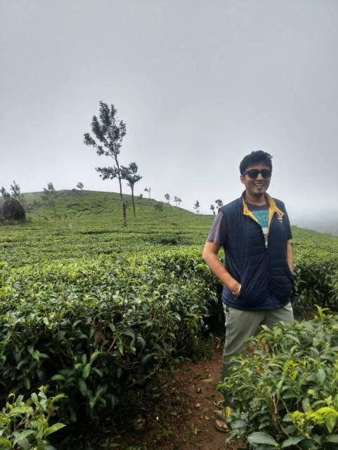 That's me enjoying in the tea estate